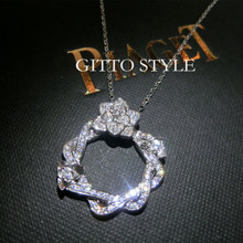 Big with 925 sterling silver BOJUE earl new circular hollow micro / 5 a zircon exquisite costly necklace