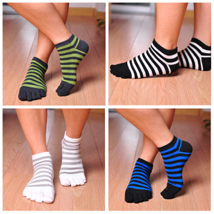 Male cotton toe socks short socks breathable cotton striped toe socks five pairs autumn New Product