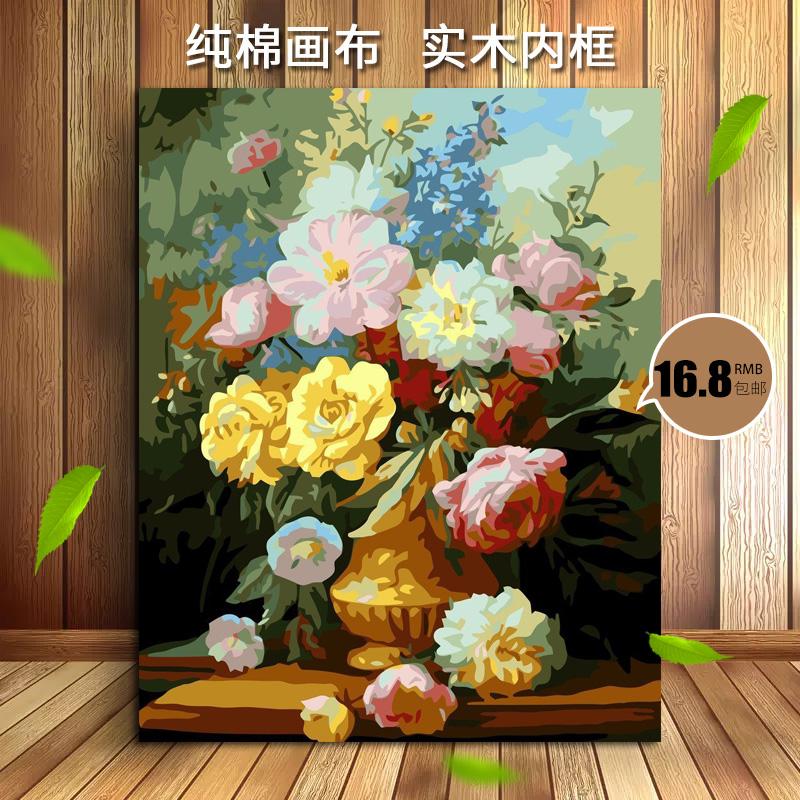 加厚框非之語 diy數字油畫客廳花卉人物風景填色手繪油彩裝飾畫