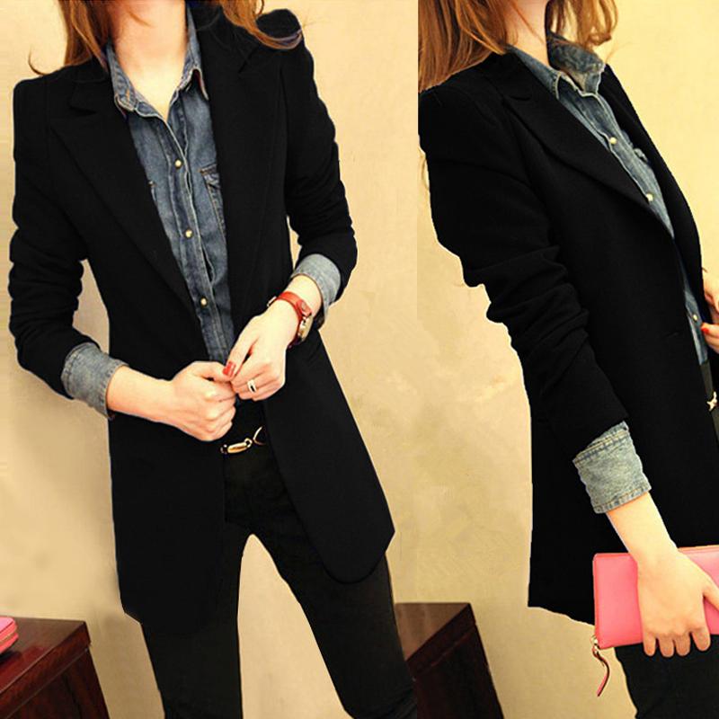 2017 весенний и осенний сбор. новый маленький корейский костюм женщина пальто длина дикий тонкий черный случайный костюм куртка