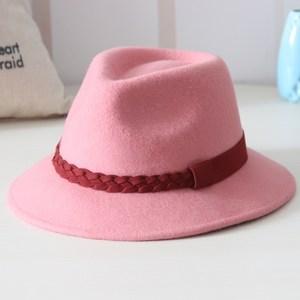 小辣椒同款帽子女士韩版粉色小礼帽纯羊毛呢毡帽女帽爵士帽盆帽