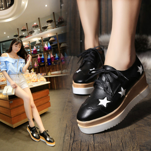 2017 European Grand Prix star women's shoes thick crust muffin bottom slope with spring and high-heeled shoes lace shoes student influx of European and American