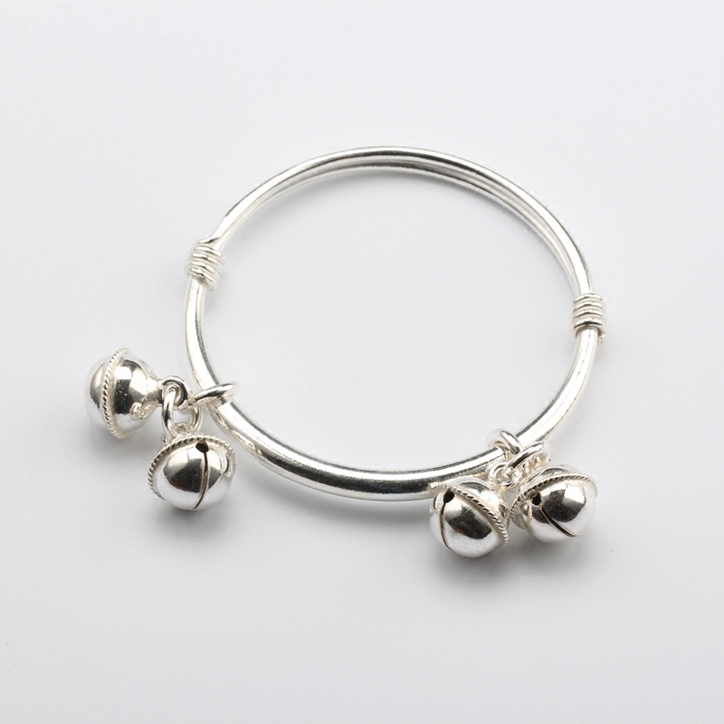 S999 Sterling Silver Baby and childrens bell Anklet foot silver for boys and girls