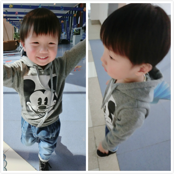 YOYO LITTLEELEVEN Париж Микки ребенка кашемир не инвертированным для мальчиков и девочек длинные рукава свитер с капюшоном
