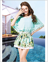 15 Korean American women chiffon small pure and fresh and pleated skirt of cultivate one's morality sexy girl round collar lace print dress