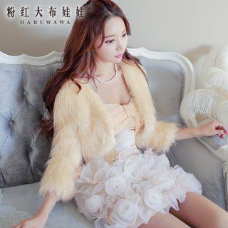 2015 new pink winter fur coat big rag doll dress fur cropped faux fur coats women