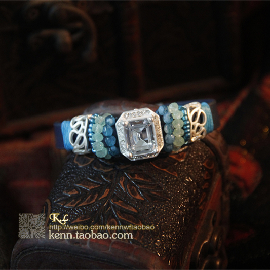 [K.L] European and American foreign trade hot sale export casual leather four color diamond clear bracelet bracelet