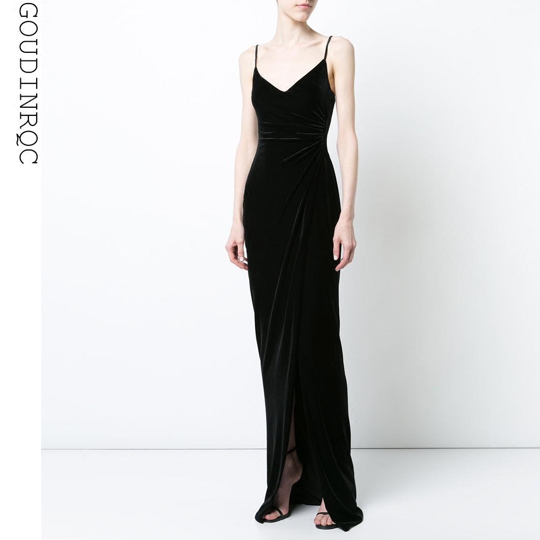 GOUDINRQC/古典青春黑色丝绒小礼服性感显瘦长款派对晚礼服连衣裙满300元可用30元优惠券