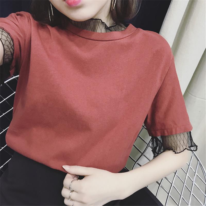 2017 女裝 純色短袖T恤簡約百搭寬鬆bf上衣半袖學生打底衫