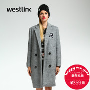Westlink/West New 2015 winter letter collage letters long in the coat of arms of the women wear simple woolen cloth coat