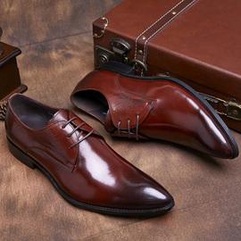 商务正装头层牛皮真皮尖头皮鞋男英伦系带潮发型师西装正品男婚鞋