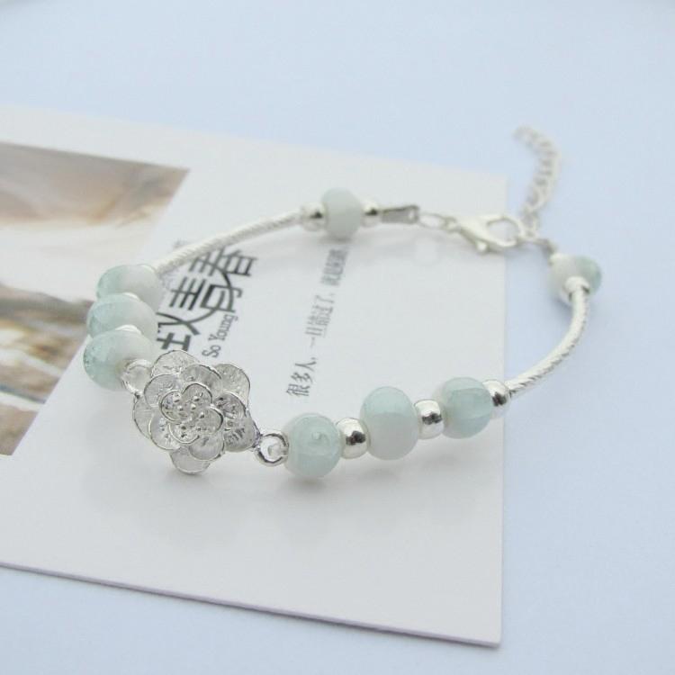 新款立體銀玫瑰花手鏈女韓版簡約個性學生禮物景德鎮陶瓷飾品批發