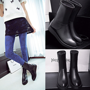 Puqi 2015 new platform wedges in autumn and winter fashion simple leather leather zipper tube after round-women's boots