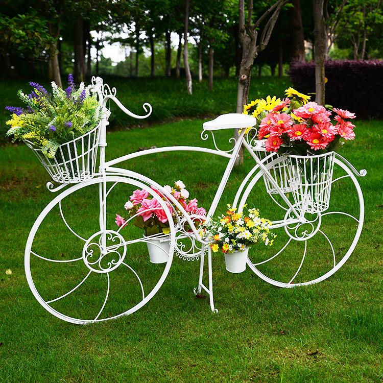 创意欧式铁艺多层落地大自行车花架子 婚庆道具橱窗装饰花店摆件