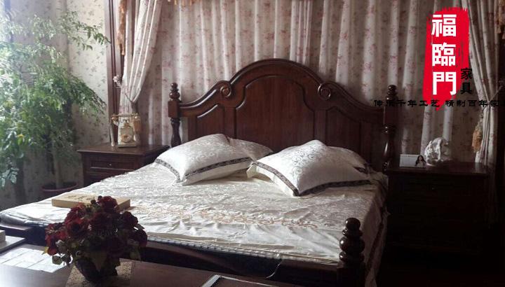 福临门仿古家具双人床实木床住宅家具 老榆木家具 床类 大床一套