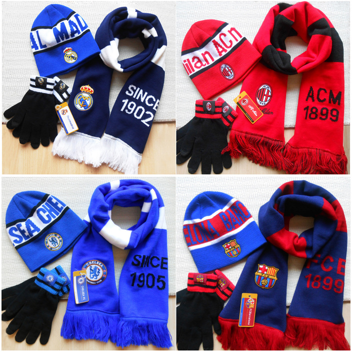 Chelsea Liverpool Arsenal AC Milan Real Madrid Barcelona football fans Winter Hat Scarf Glove three piece