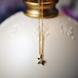 『薇家』T家设计~专柜缺芽五星天然钻石 18K黄金白金小吊坠/项链