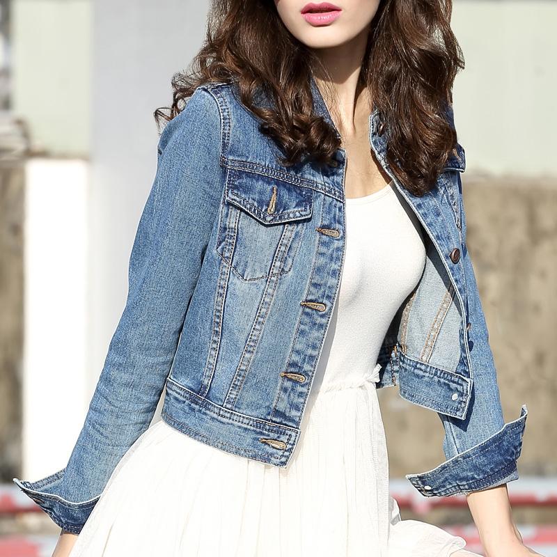 利酷2019春秋牛仔外套女短款长袖新款修身牛仔上衣韩版牛仔夹克衫
