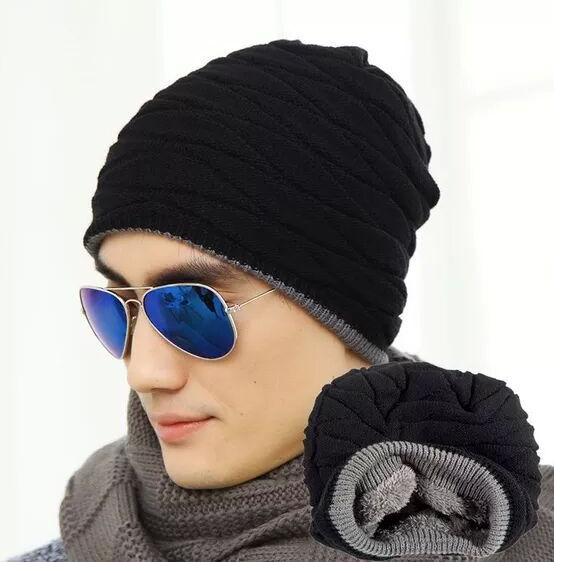 Горячей теплой осенью и зимой плюс бархат двойной вязаный Hat корейский мужской бума затычки для ушей шляпу шерсти крышка
