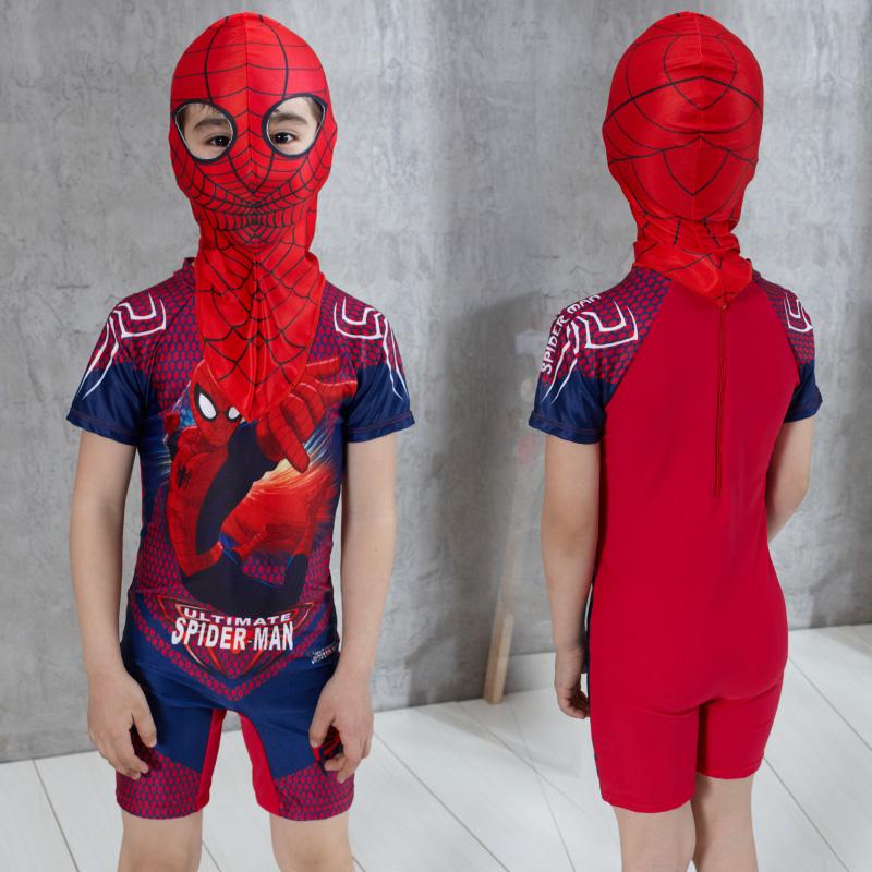 送泳帽 兒童泳衣男童連體平角蜘蛛俠泳衣 中大童遊泳衣學生泳裝
