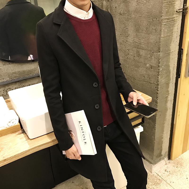 男士英倫青少年呢子呢大衣