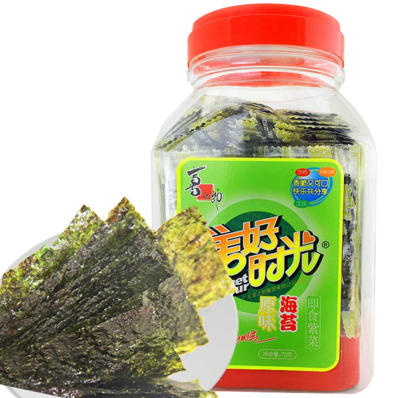 ~天貓超市~喜之郎美好時光桶裝海苔75g 海苔製品  食品