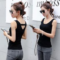 棉吊带背心女夏韩版修身大码短款内搭打底黑色性感外穿美背小背心