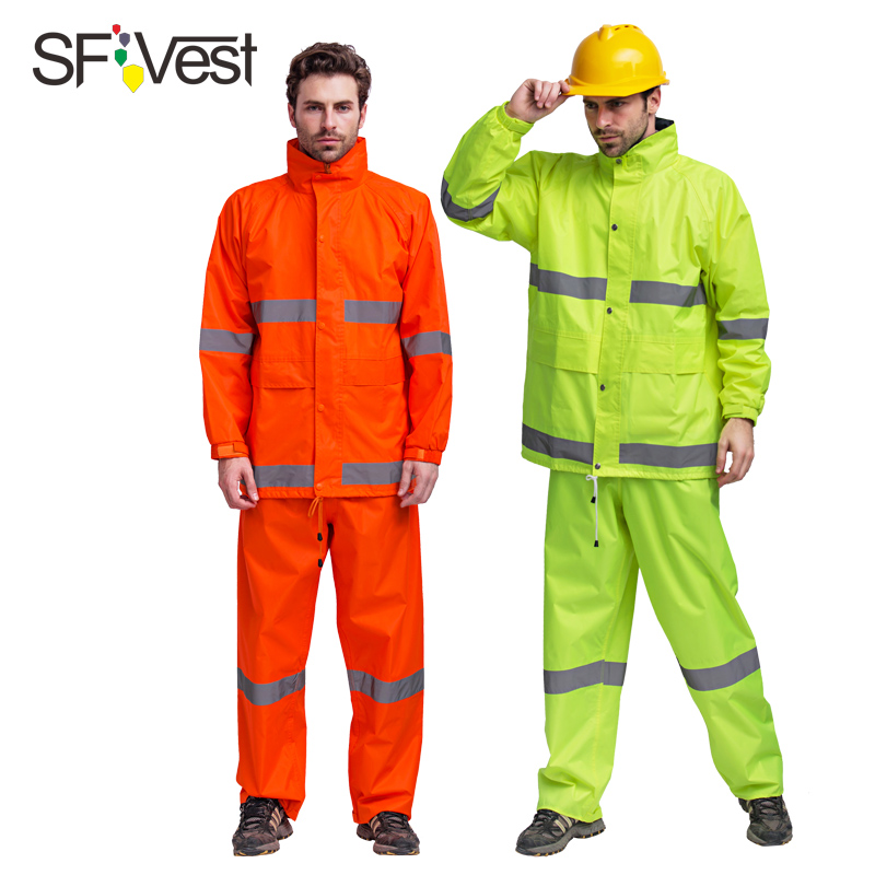 SFVest反光雨衣雨裤套装交通安全环卫雨衣户外工作人员防水衣服