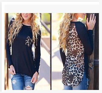 2111 eBay, вязания, вышивания леопардовым принтом шифон плюс размер женщин футболки с длинным рукавом Футболка базы в Европе и Америке 2