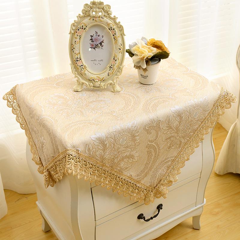 歐式床頭櫃套罩正方形防塵罩布藝簡約 小桌布方巾蓋布蕾絲台布