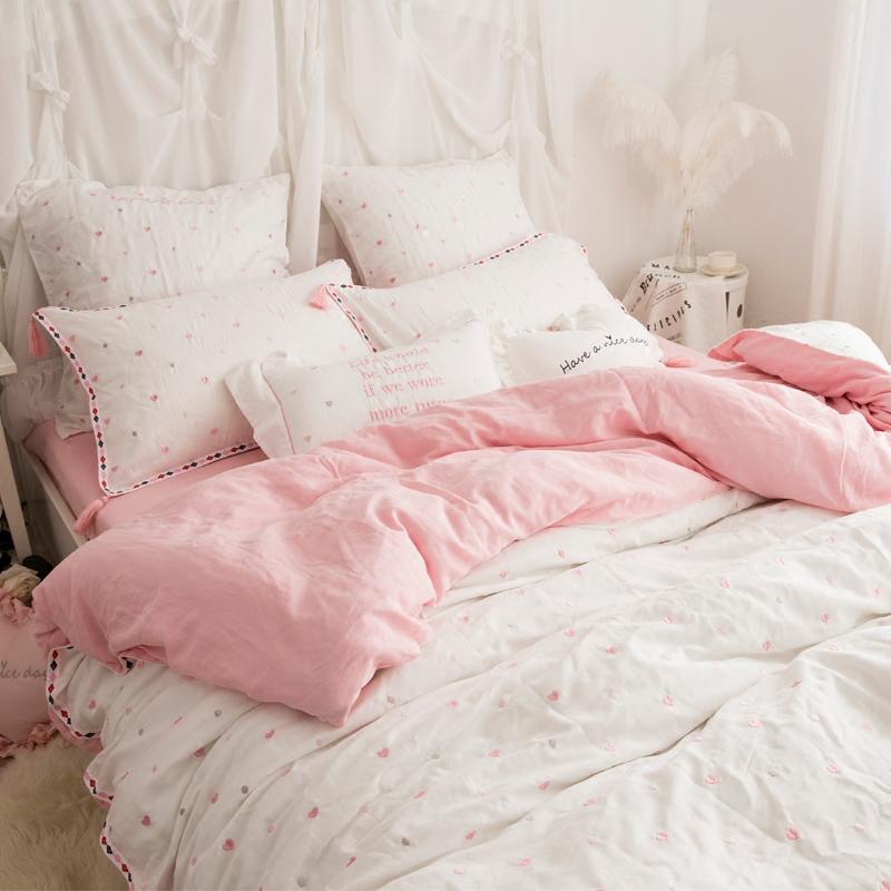 双层纱婴儿级面料裸睡床上用品全棉四件套纯棉爱心公主流苏刺绣