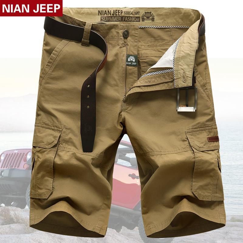 新品NIAN JEEP男士 短褲 直筒寬鬆工裝褲純色薄款七分褲棉