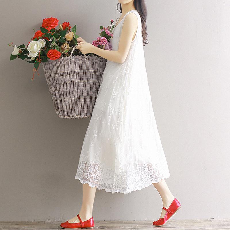 春夏森文艺棉麻连衣裙重工蕾丝刺绣白色唯美中长无袖背心打底内搭券后229.00元