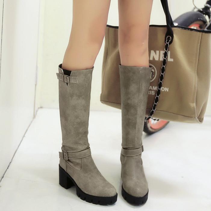 Пряжка к 2015 году зимний сезон новые сапоги водонепроницаемый в толстом дном с байкерские ботинки с поясом случайные женской обуви