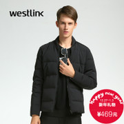 Simple black Westlink/West New 2015 winter baseball neck short down jacket men's jacket