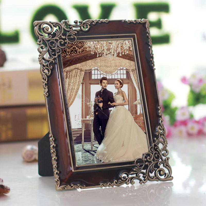 複古金屬相框擺台 歐式合金 相架 6 7 10寸像框田園古典相片框