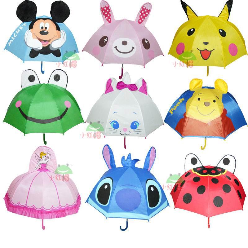 Распродажа Скидки принцесса зонтик ребенка зонтик зонтик творческие мультфильм длинная ручка ультра легкие зонтики открытия подарок пакет почты