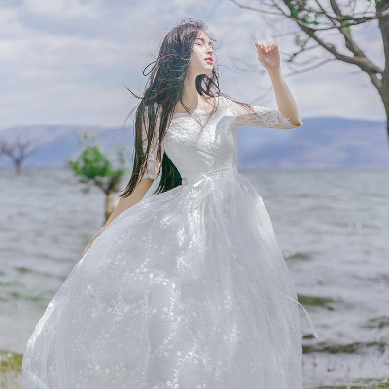 波西米亚长裙夏甜美显瘦连衣裙海边度假白色沙滩裙蕾丝仙女裙礼服