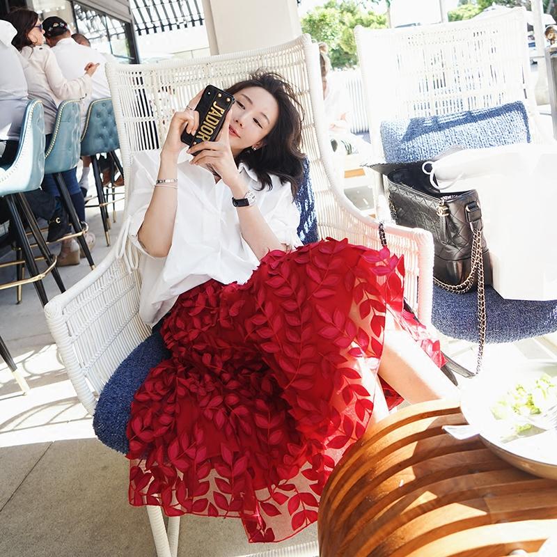 阿金JIN 重工树叶网纱半身裙女夏中长款仙女蓬蓬裙气质高腰裙子