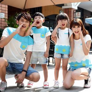 亲子装夏装短袖 韩版宽松一家三口家庭装母女童装上衣夏季潮