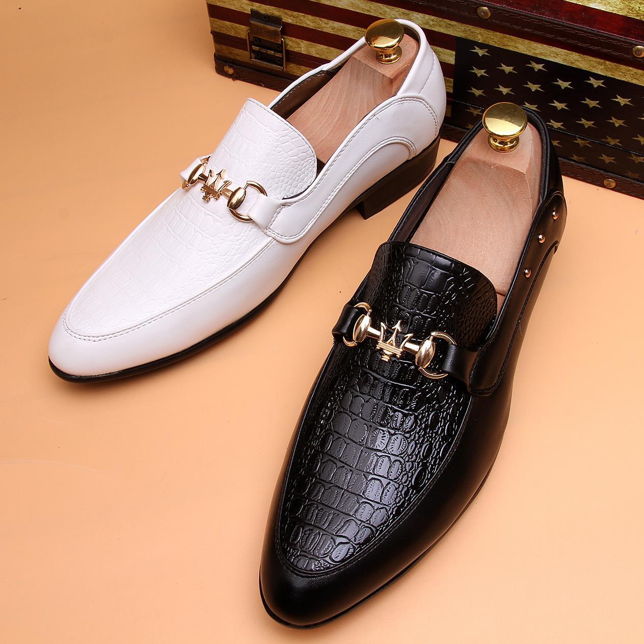春季豆豆鞋英伦尖头男鞋商务白色 黑色皮鞋韩版休闲发型师单鞋