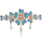 Love Korean fashion jewelry flower hairpin complex classical Korea jewelry rhinestone cross spring clip Clip top clip