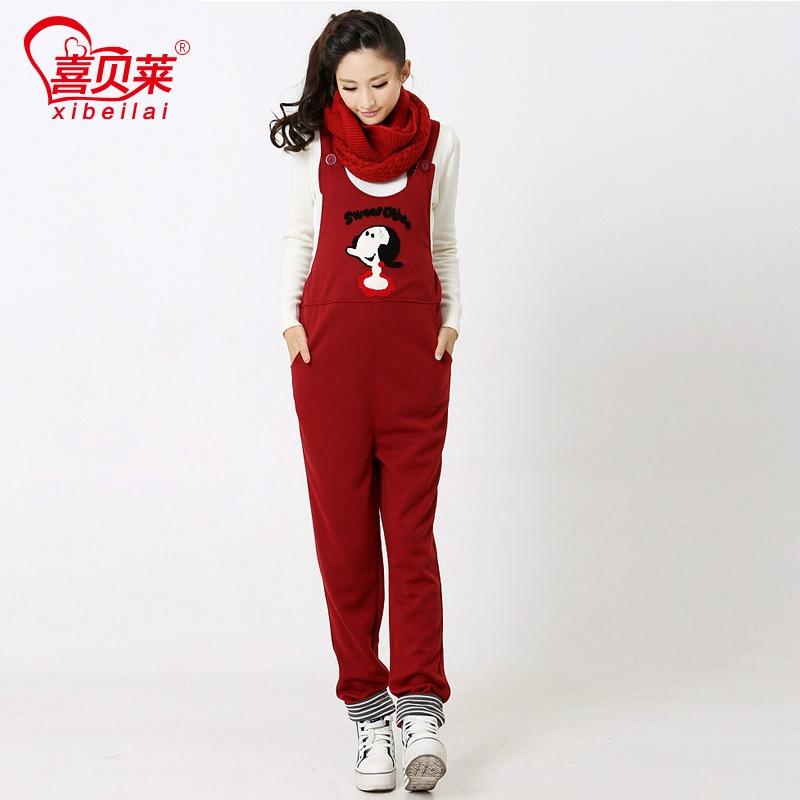 Xibeilai одежда падение одежды нагрудник нагрудник брюки брюки брюки беременных женщин беременных женщин осенью и зимой плюс комбинезон флис