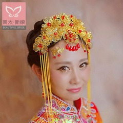 Beauty too bride costume headdress flow Middle cheongsam Coronet Gold Crown of the show Wo clothing accessories A0796