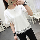 Summer new Korean version lace lace short woman clothes loose half sleeved short sleeved T-shirt student T-shirt