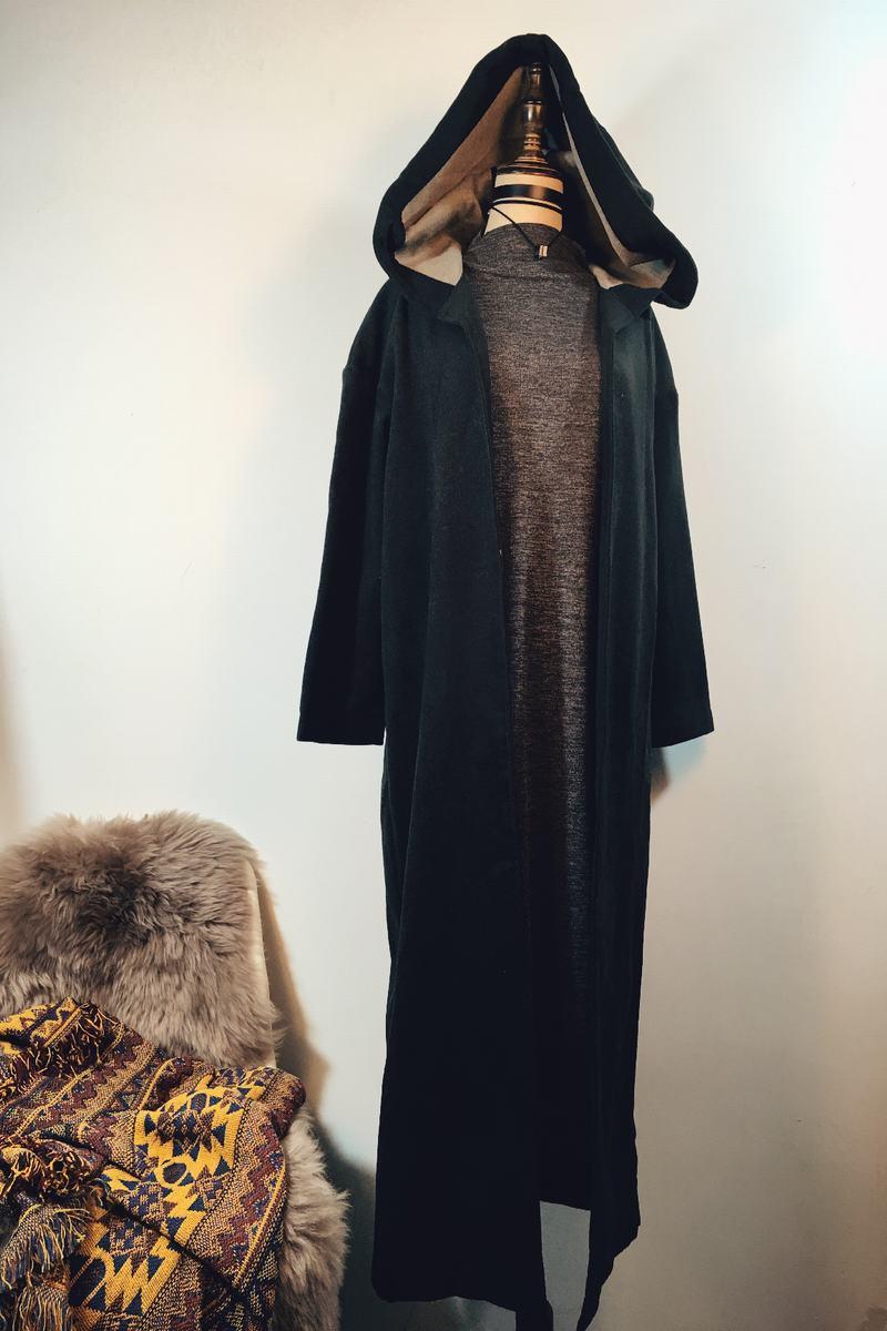 推荐精品尾货MZ 超长款修身连帽开衫仿羊绒呢子大衣外套冬季女装