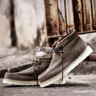 靴男高帮反绒皮圆头鞋 子韩版 休闲皮鞋 冬季袋鼠鞋 工装 男士 潮流短靴