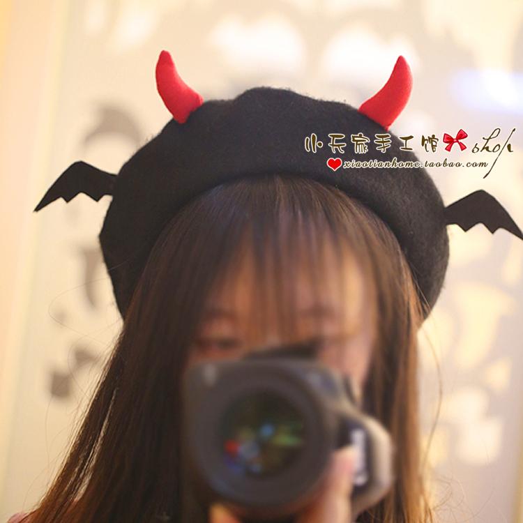 万圣节恶魔翅膀可爱小牛角帽子女手工DIY头饰出游拍照舞台贝雷帽