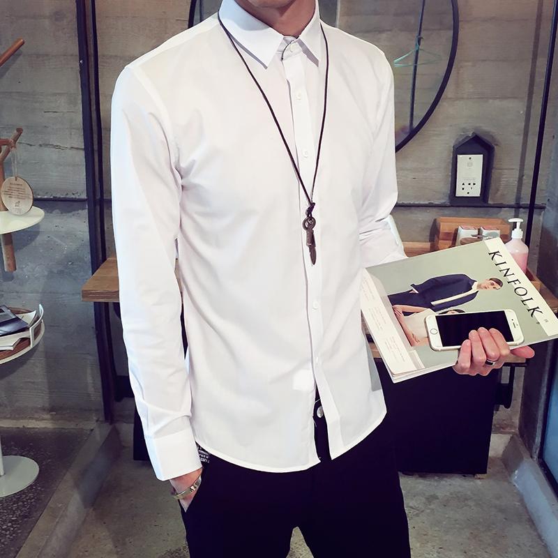 純色男士 款 修身型長袖襯衣 襯衫男青年 商務 襯衣潮