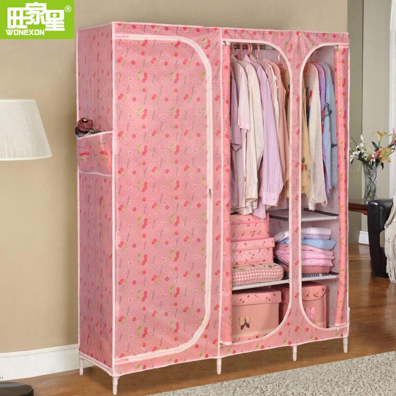 布衣柜钢管加粗加固收纳大号组装衣橱简易衣柜布艺简约现代经济型